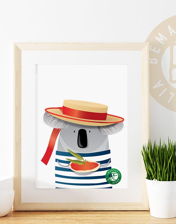 Italian koala print ideal for wall decorating