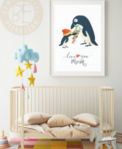 Love You Mum print penguins