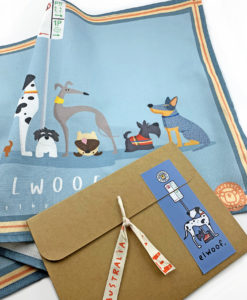 Elwood tea towel and packaging