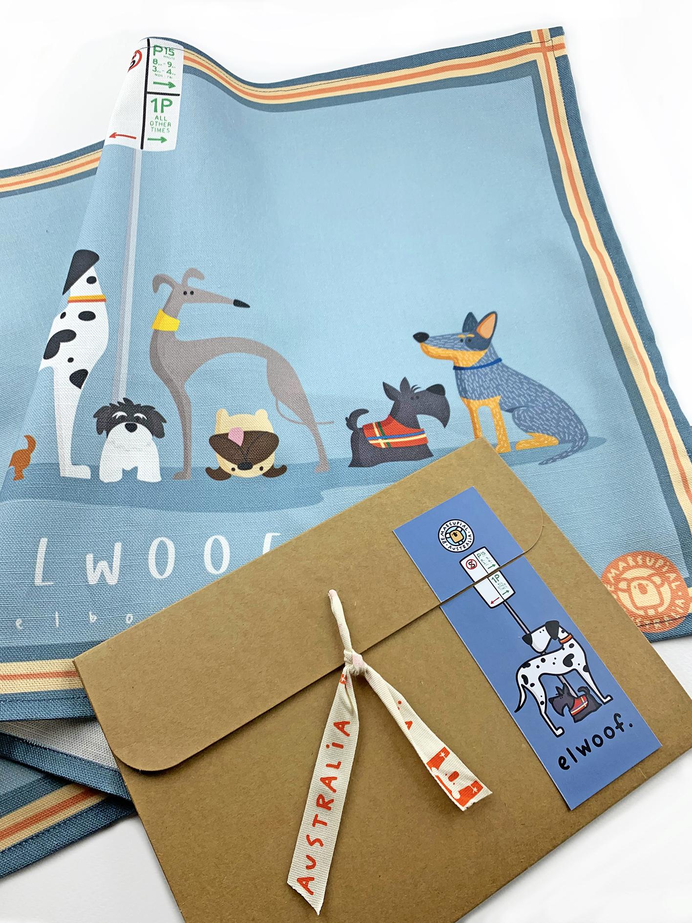 Elwood tea towel and packaging