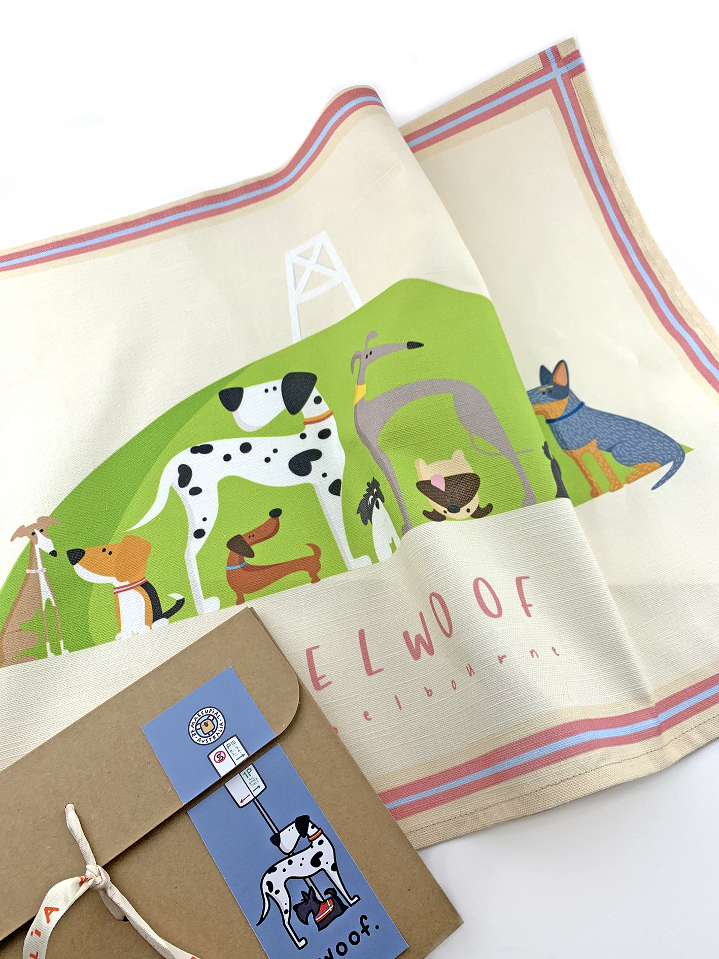 Elwoof teatowel in Point Ormond