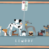 Elwoof tea towel - Parked dogs