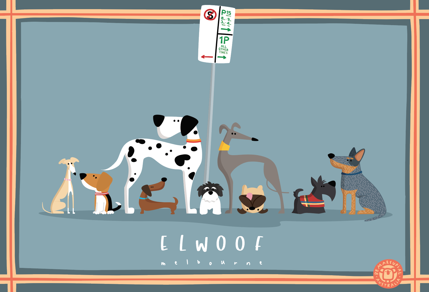 Elwoof tea towel - Parked dogs