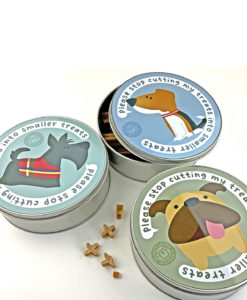dog treats round tin box
