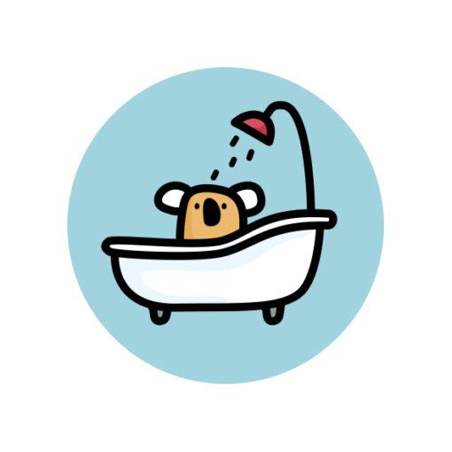 button pin koala bath tube