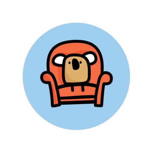 button pin koala armchair