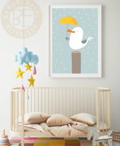 seagull with umbrella under the rain nursery print